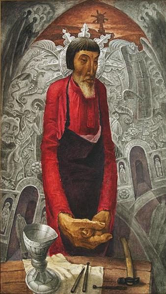 Ovdokim the Silversmith story composition - oil painting