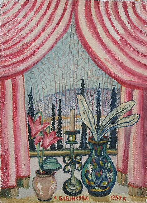 Winter Window still life - oil painting