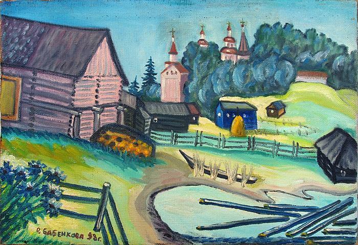 North. Village rural landscape - oil painting