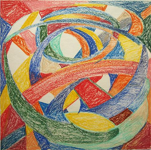 Abstract Composition abstract art - pastel drawing