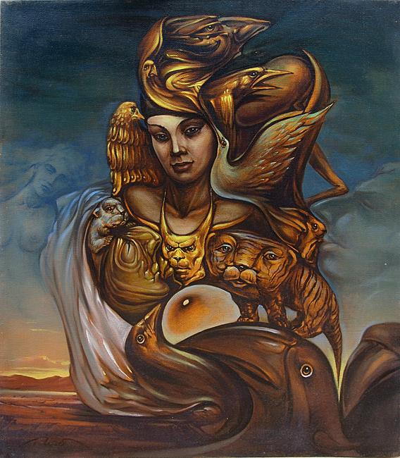 Muse of Waiting surrealist art - oil painting surrealism woman birds
