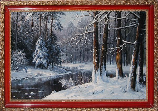 winter forest river antique