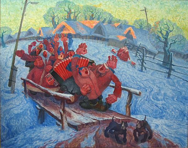 Pancake Week genre scene - oil painting pancake fight music joy country