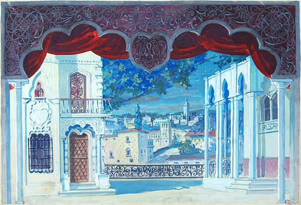 Sketch for a Theater Set theatre set - gouache theatre art
