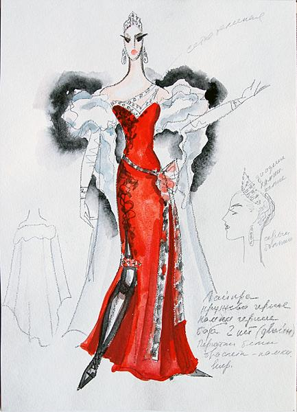 Sketch for a Theater Costume costume - gouache theatre art