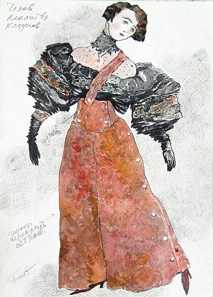 Sketch for a Theater Costume costume - watercolor theatre art