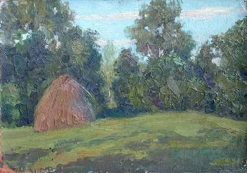 Haystack summer landscape - oil painting