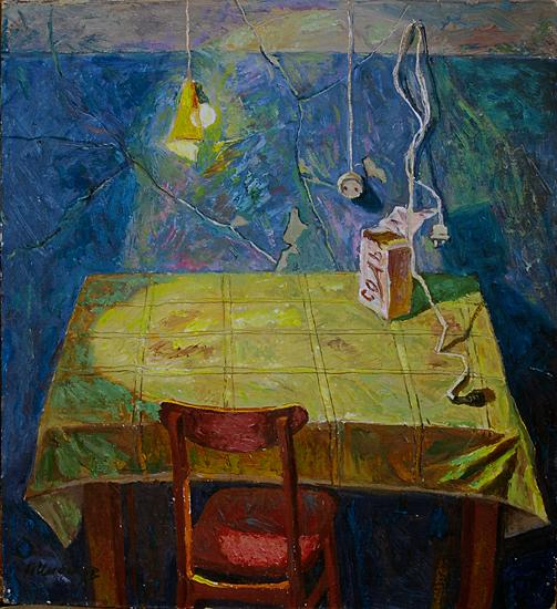 Empty Table interiors - oil painting