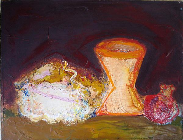 Still Lifer with Pomegranate still life - acrylic painting
