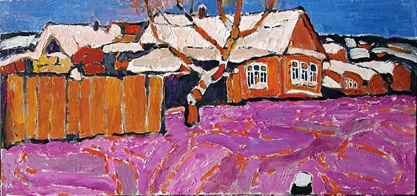 Lilac Evening rural landscape - oil painting