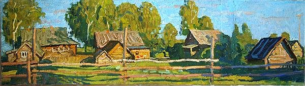 Untitled rural landscape - oil painting