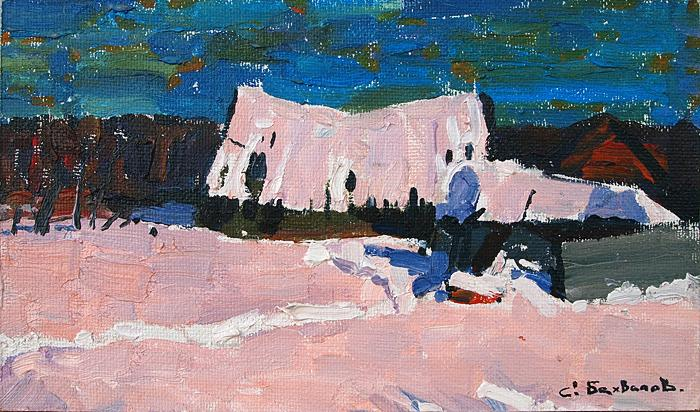 winter countryside landscape house