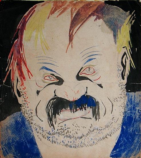 Пьяница. Карикатура для сатирического журнала портрет или фигура - акварель графика