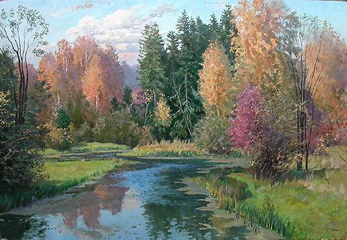 Осень осенний пейзаж - масло живопись