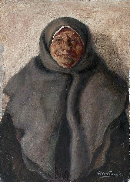 Untitled portrait or figure - oil painting