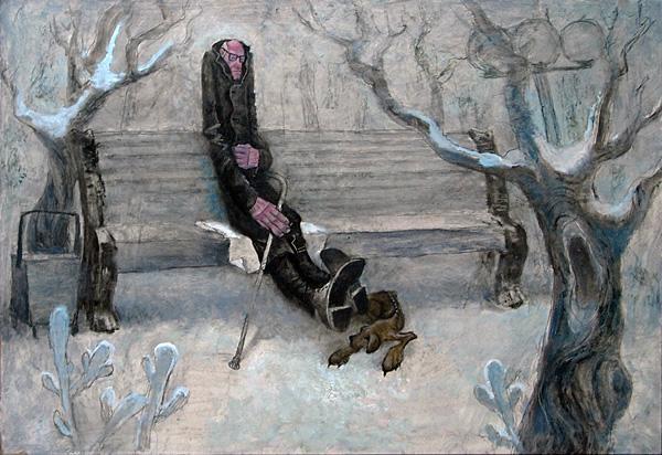 Скамейка genre scene - oil painting