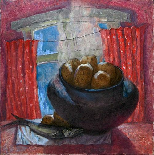 Картошечка натюрморт - масло живопись натюрморт картошка селедка деревня быт еда