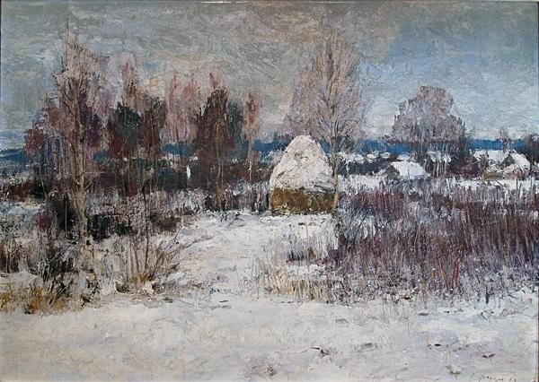 Untitled winter landscape -  painting