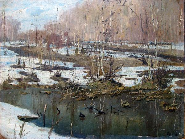 Untitled spring landscape - oil painting