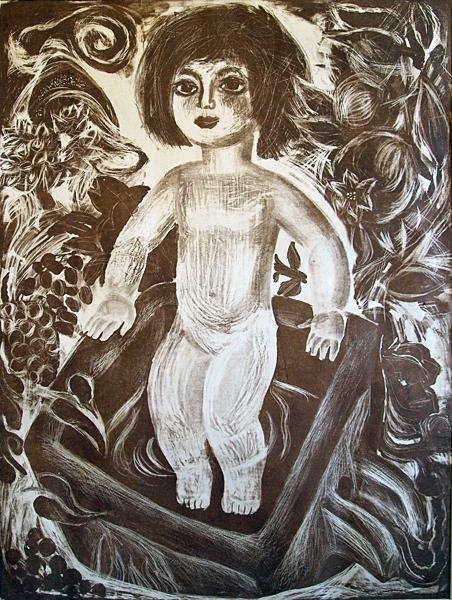Untitled figurative art - lithography printmaking