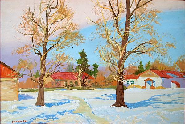 Untitled rural landscape - oil painting