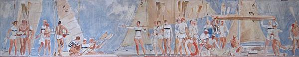 Yacht Club genre scene - tempera painting