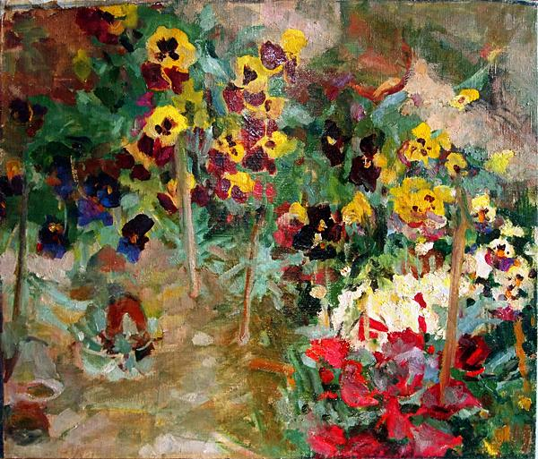 Flowers in the Garden flower - oil painting
