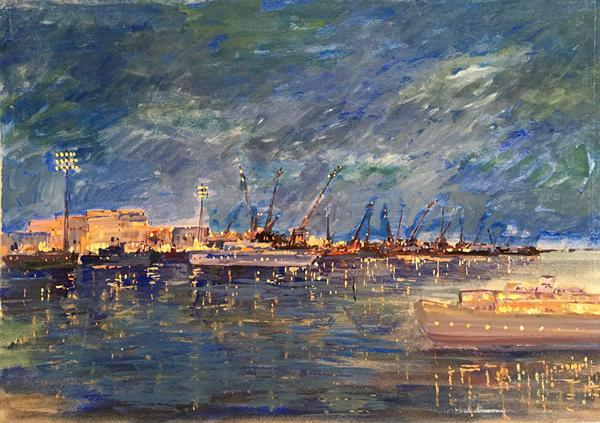 Untitled night landscape - tempera painting