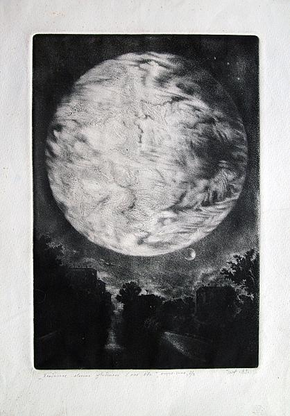 Untitled night landscape - etching printmaking