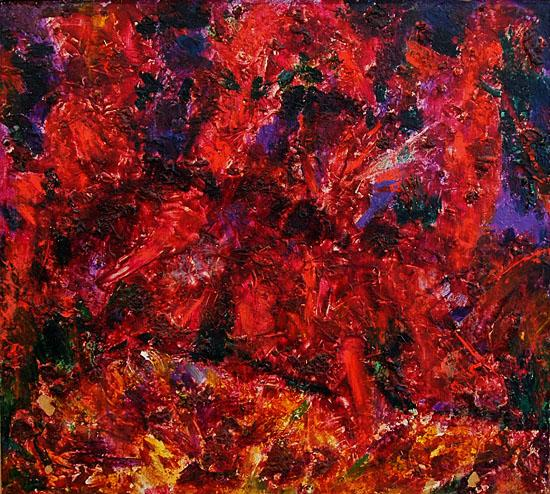 Autumn abstract art - oil painting