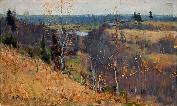 Late Autumn. Pigeons autumn landscape - oil painting