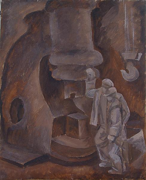 Steam Hammer Workers genre scene - tempera painting