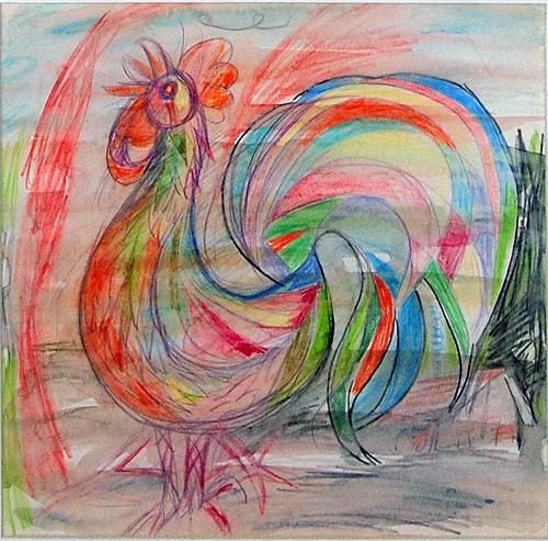 Cock animals - watercolor, ink, nib, colored pencil drawing