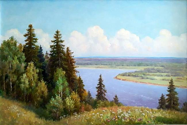 On the Vyatka River summer landscape - oil painting