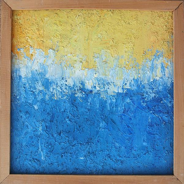 Blue and Yellow abstract art - oil painting