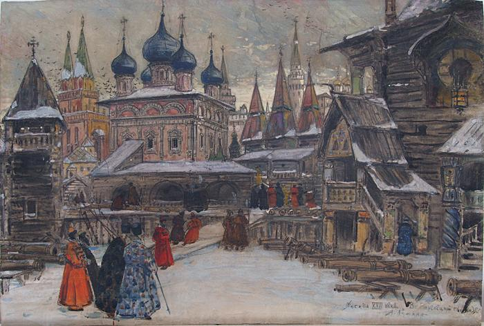 Moscow of the 17th Century. In the Streltsy Settlement cityscape - gouache, pencil painting