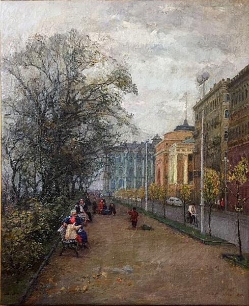Admiralteyskaya Embankment cityscape - oil painting