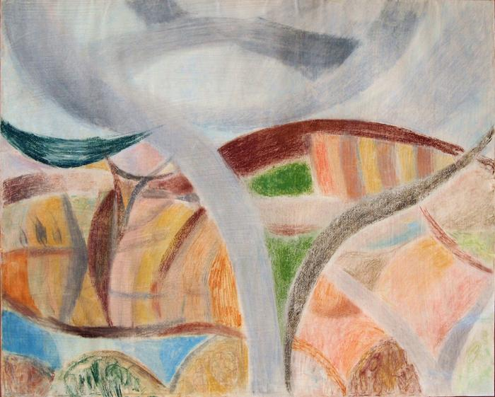 Landscape with a Lake abstract landscape - wax pastel drawing