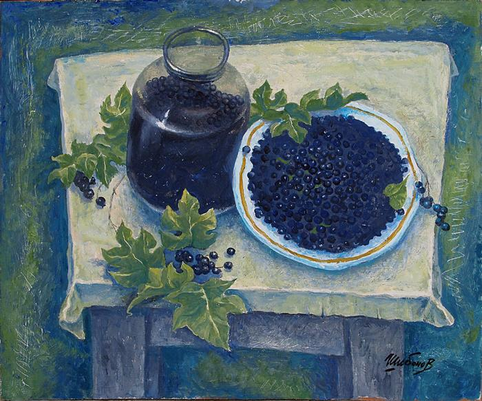 Black Currant still life - oil painting
