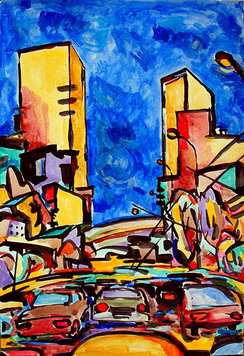 Traffic cityscape - acrylic painting