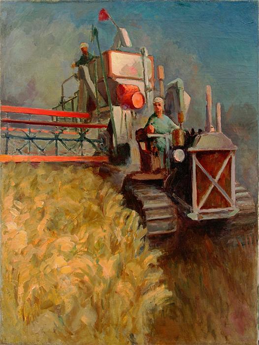 В поле соцреализм - масло живопись