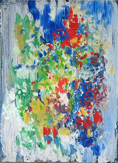 Untitled abstract art - mixed technique painting