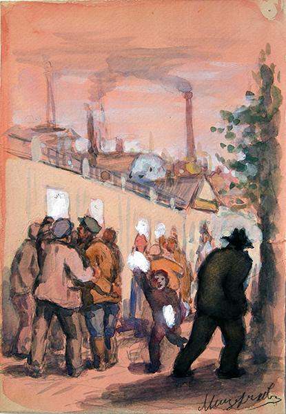 Untitled social realism - gouache drawing