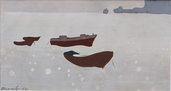Untitled seascape - tempera painting