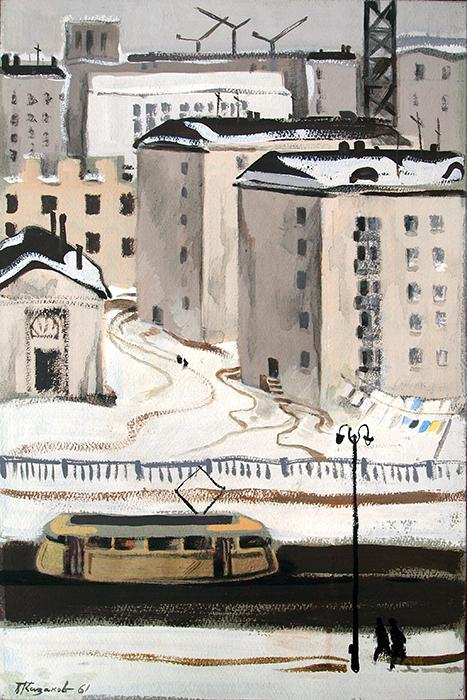 Untitled cityscape - tempera painting