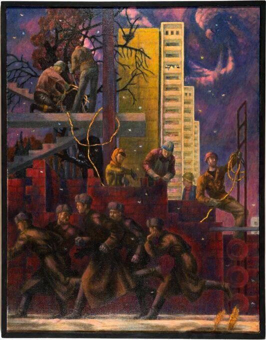 Untitled genre scene - oil painting