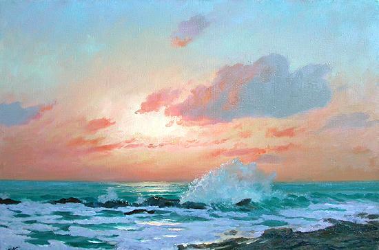 Закат морской пейзаж - масло живопись