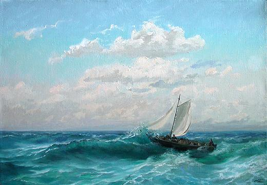 Blue Day seascape - oil painting