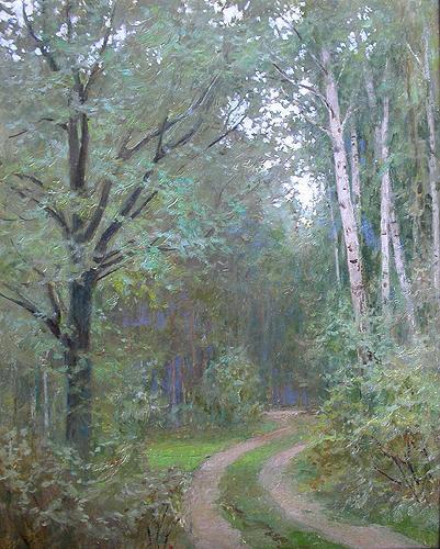 Дорога в лесу летний пейзаж - масло живопись
