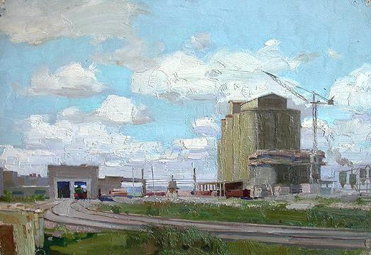 At Ulyanovsk Cement Factory industrial landscape - oil painting